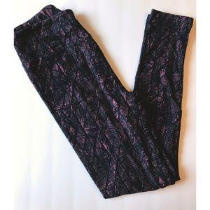 Navy Blue/Faded Pink Striped Lularoe Leggings OS